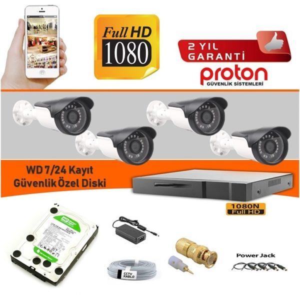 4 lü güvenlik kamera seti