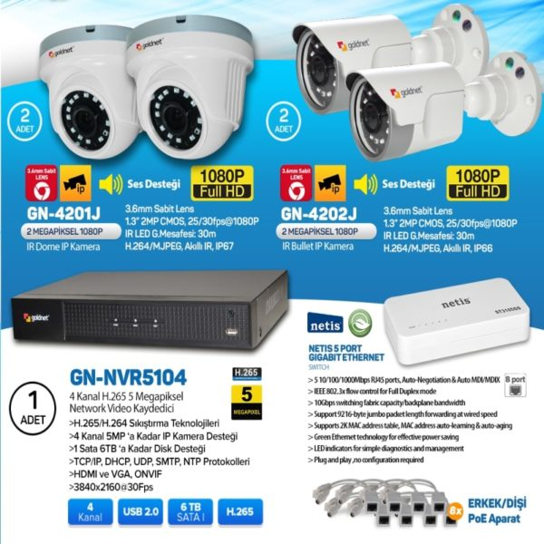 ip güvenlik kamera seti 4lü