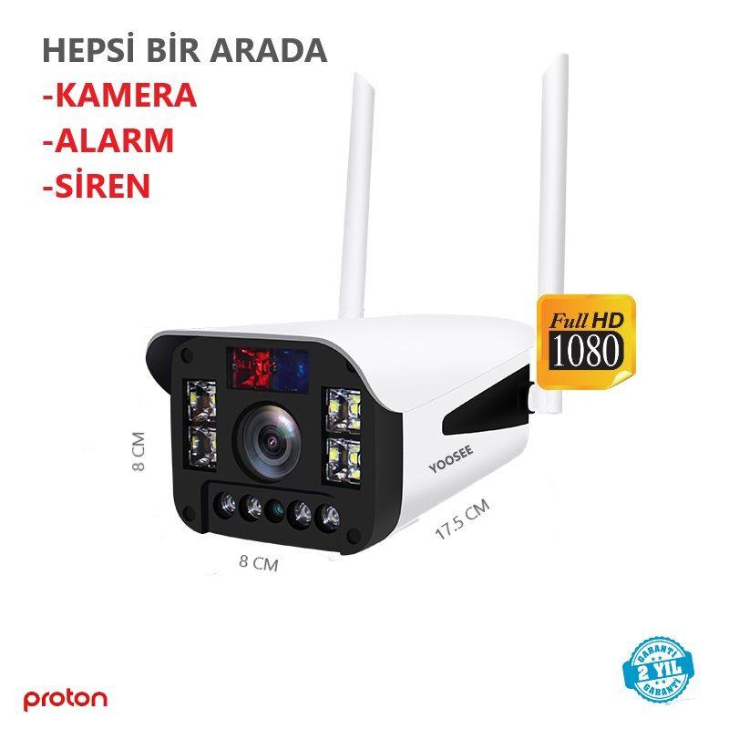 sirenli kablosuz guvenlik kamerasi